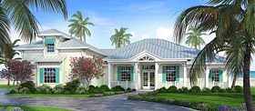 House Plan 52923 | Coastal Florida Style Plan with 2609 Sq Ft, 3 Bedrooms, 3 Bathrooms, 3 Car Garage Elevation