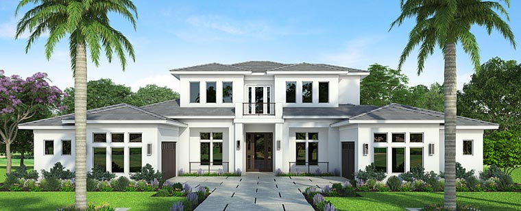 Coastal , Contemporary , Florida , Mediterranean House Plan 52925 with 4 Beds, 6 Baths, 4 Car Garage Elevation