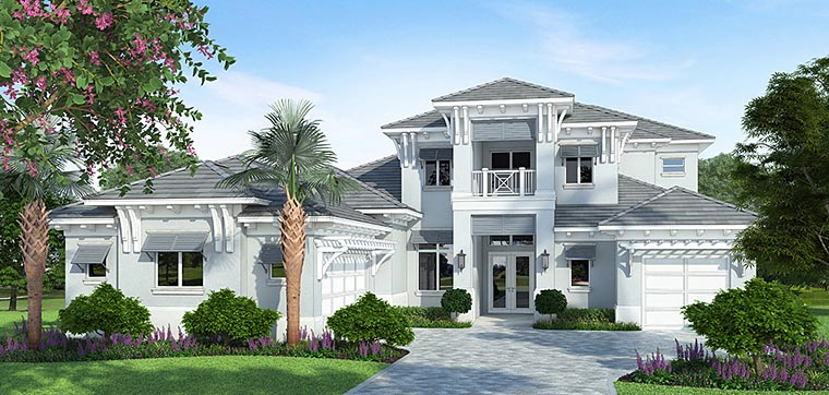 Coastal Florida Mediterranean House Plan 52927 Elevation