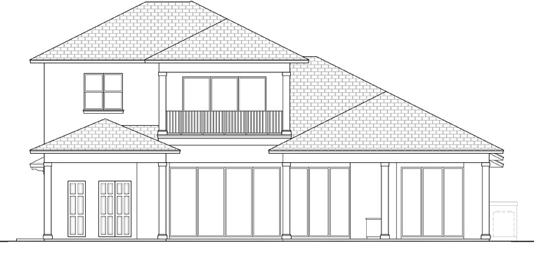 Coastal Florida Mediterranean Rear Elevation of Plan 52927