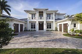 House Plan 52928 | Coastal Florida Mediterranean Style Plan with 5464 Sq Ft, 4 Bedrooms, 6 Bathrooms, 4 Car Garage Elevation