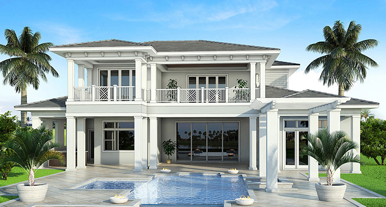 Coastal Florida Mediterranean House Plan 52928