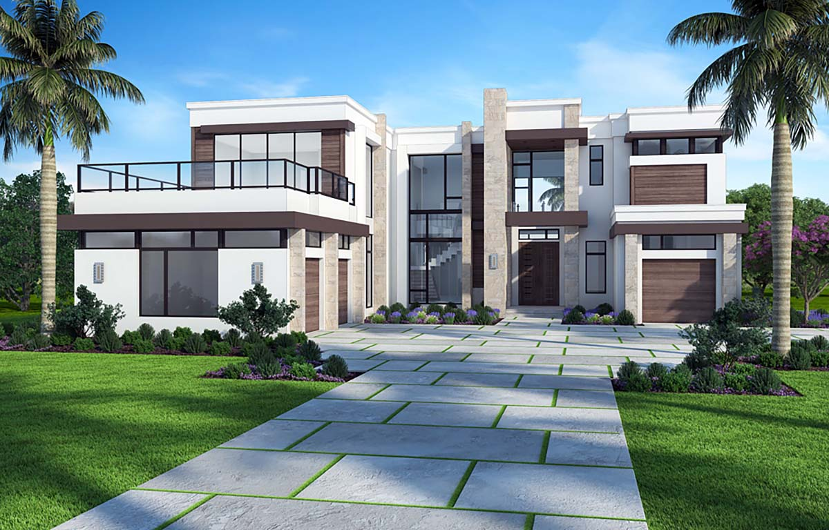 Florida, Mediterranean, Modern House Plan 52929 with 5 Beds, 7 Baths, 3 Car Garage Elevation