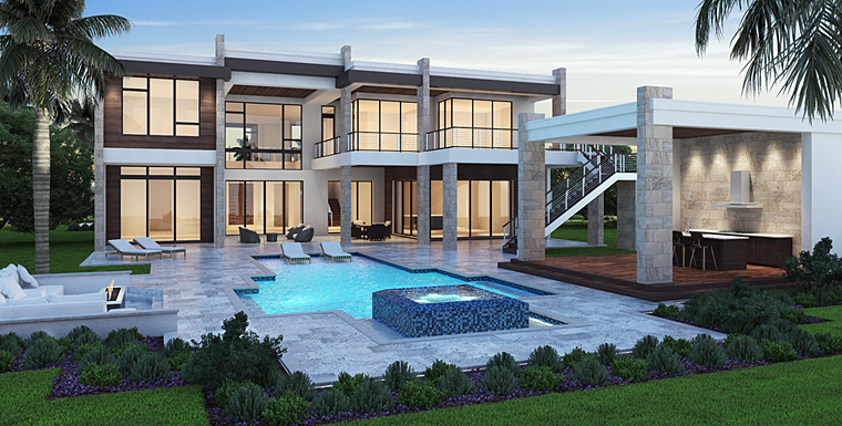 Florida, Mediterranean, Modern House Plan 52929 with 5 Beds, 7 Baths, 3 Car Garage Rear Elevation