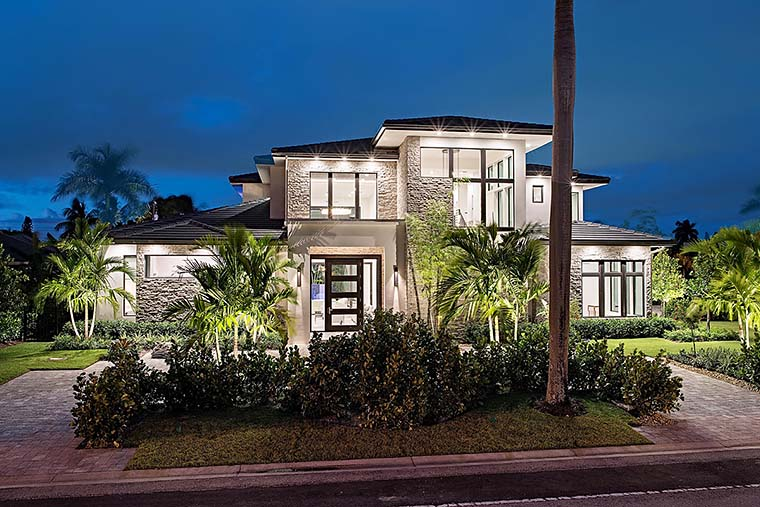 Coastal, Contemporary, Florida, Mediterranean House Plan 52931 with 4 Beds , 5 Baths , 3 Car Garage Elevation