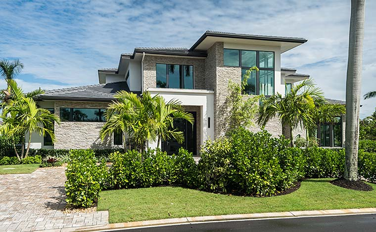 Coastal Contemporary Florida Mediterranean House Plan 52931