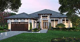 Coastal , Florida , Mediterranean House Plan 52932 with 3 Beds, 3 Baths, 2 Car Garage Elevation