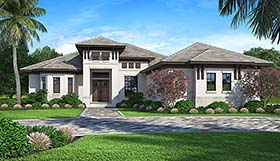 House Plan 52933 | Coastal Florida Mediterranean Style Plan with 2562 Sq Ft, 4 Bedrooms, 3 Bathrooms, 3 Car Garage Elevation