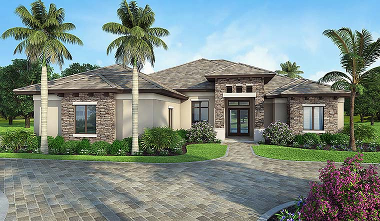 Coastal, Florida House Plan 52934 with 3 Beds, 3 Baths, 2 Car Garage Elevation