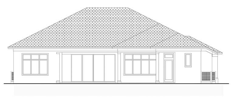 Coastal Florida House Plan 52937 Rear Elevation