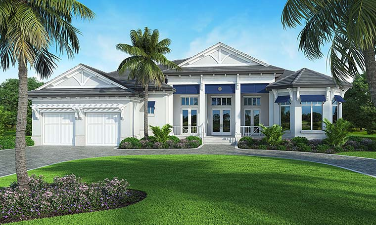 Coastal, Cottage, Florida, Mediterranean House Plan 52938 with 4 Beds, 6 Baths, 3 Car Garage Elevation