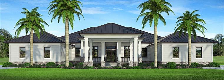 Coastal, Florida, Southern House Plan 52940 with 4 Beds, 5 Baths, 4 Car Garage Elevation