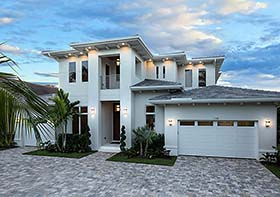 Coastal , Contemporary , Florida House Plan 52941 with 4 Beds, 5 Baths, 3 Car Garage Elevation
