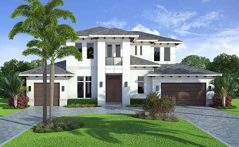 Coastal, Contemporary, Florida House Plan 52941 with 4 Beds, 5 Baths, 3 Car Garage Picture 1