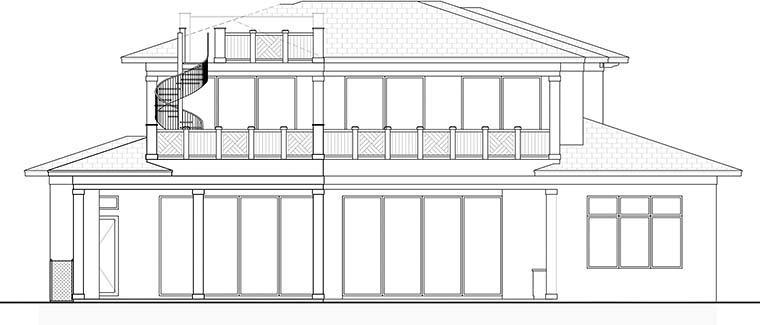 Coastal Contemporary Florida Rear Elevation of Plan 52941