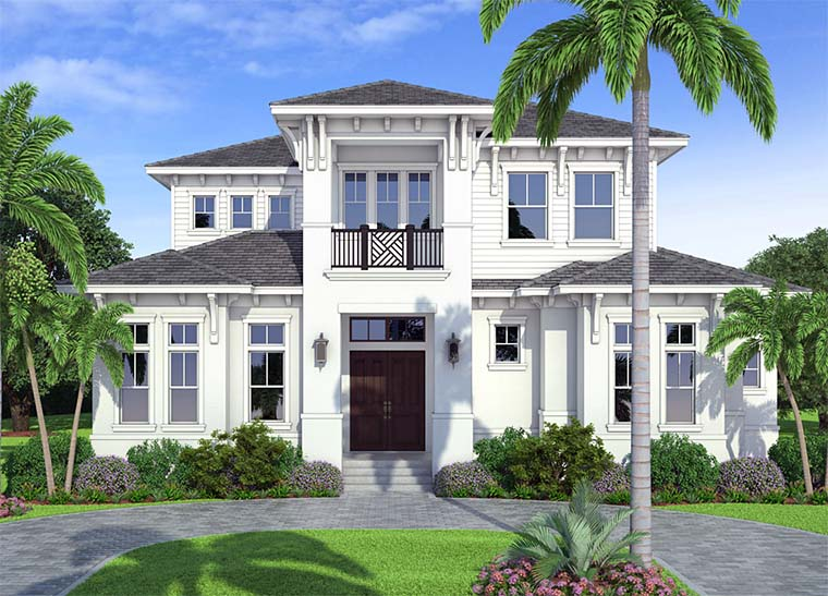 Coastal, Contemporary, Florida, Mediterranean House Plan 52942 with 4 Beds, 5 Baths, 3 Car Garage Elevation