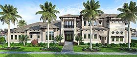 House Plan 52943 | Coastal Contemporary Florida Mediterranean Style Plan with 4836 Sq Ft, 4 Bedrooms, 6 Bathrooms, 3 Car Garage Elevation