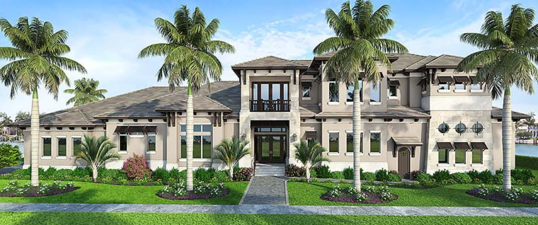 Coastal, Contemporary, Florida, Mediterranean House Plan 52943 with 4 Beds, 6 Baths, 3 Car Garage Elevation