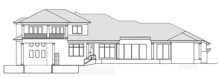 Coastal, Contemporary, Florida, Mediterranean House Plan 52943 with 4 Beds, 6 Baths, 3 Car Garage Rear Elevation