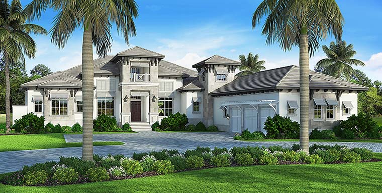 Coastal, Contemporary, Florida, Mediterranean House Plan 52944 with 4 Beds, 6 Baths, 3 Car Garage Elevation