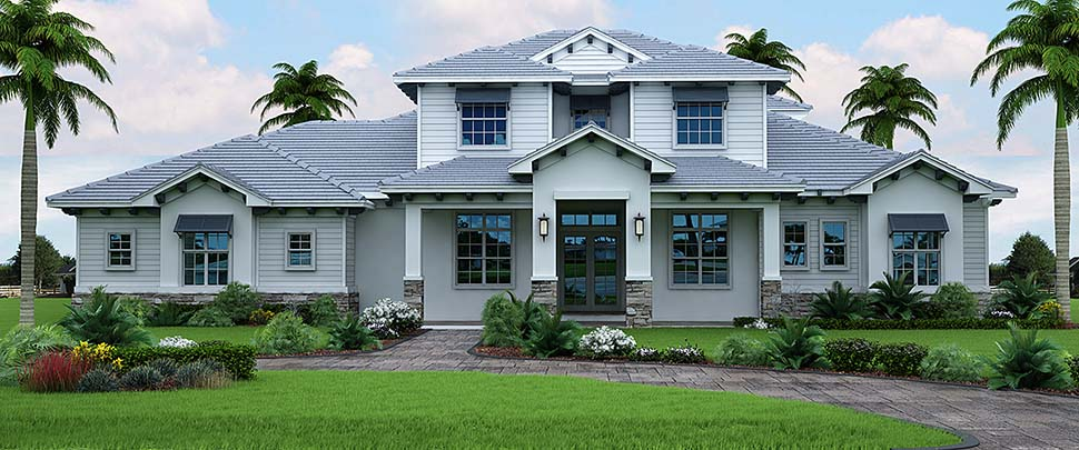 Florida, Mediterranean House Plan 52947 with 3 Beds, 5 Baths, 3 Car Garage Elevation