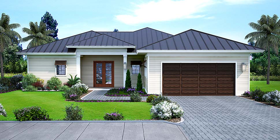 Coastal, Florida House Plan 52948 with 3 Beds, 2 Baths, 2 Car Garage Elevation