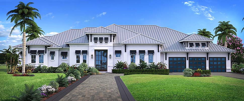 Coastal, Contemporary, Florida, Mediterranean House Plan 52949 with 4 Beds, 5 Baths, 3 Car Garage Front Elevation