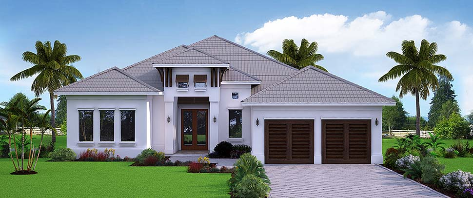 House Plan 52951 | Coastal Florida Style Plan with 3289 Sq Ft, 4 Bedrooms, 4 Bathrooms, 2 Car Garage Elevation