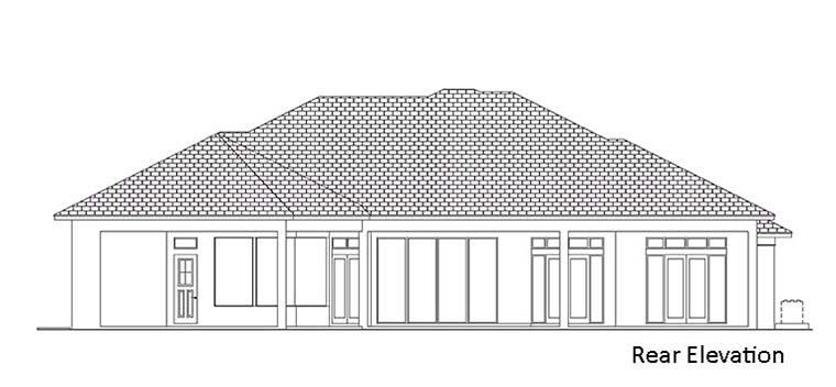 House Plan 52952 | Coastal Florida Mediterranean Style Plan with 3296 Sq Ft, 3 Bedrooms, 4 Bathrooms, 3 Car Garage Rear Elevation