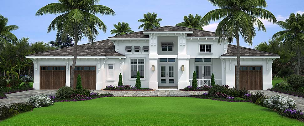 Coastal , Florida , Mediterranean House Plan 52953 with 4 Beds, 6 Baths, 3 Car Garage Elevation