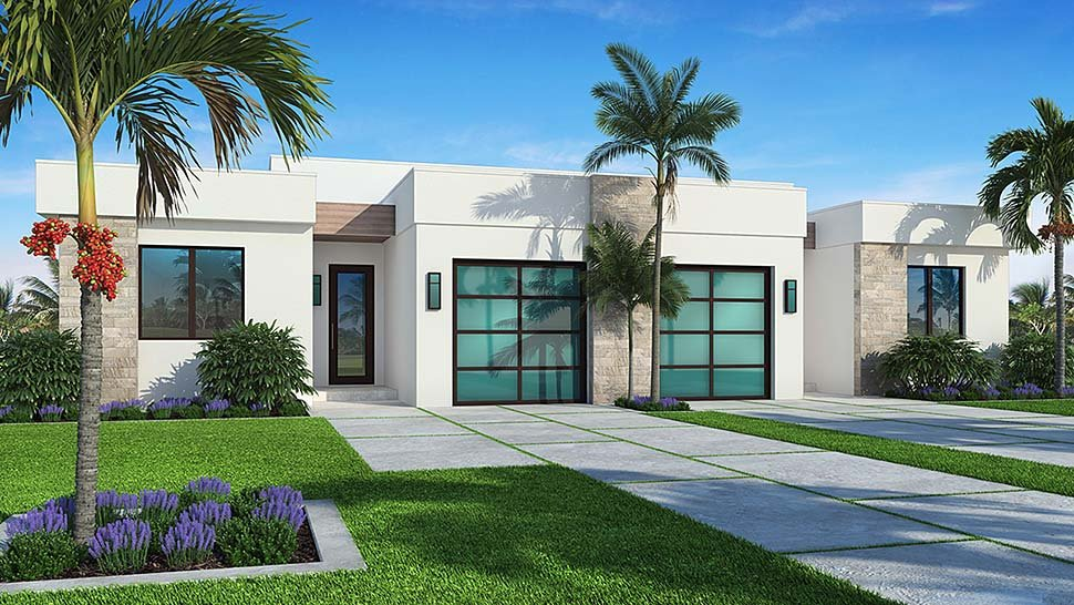 Contemporary Multi-Family Plan 52954 with 6 Beds , 4 Baths , 2 Car Garage Elevation