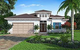 Coastal , Contemporary House Plan 52955 with 3 Beds, 2 Baths, 2 Car Garage Elevation
