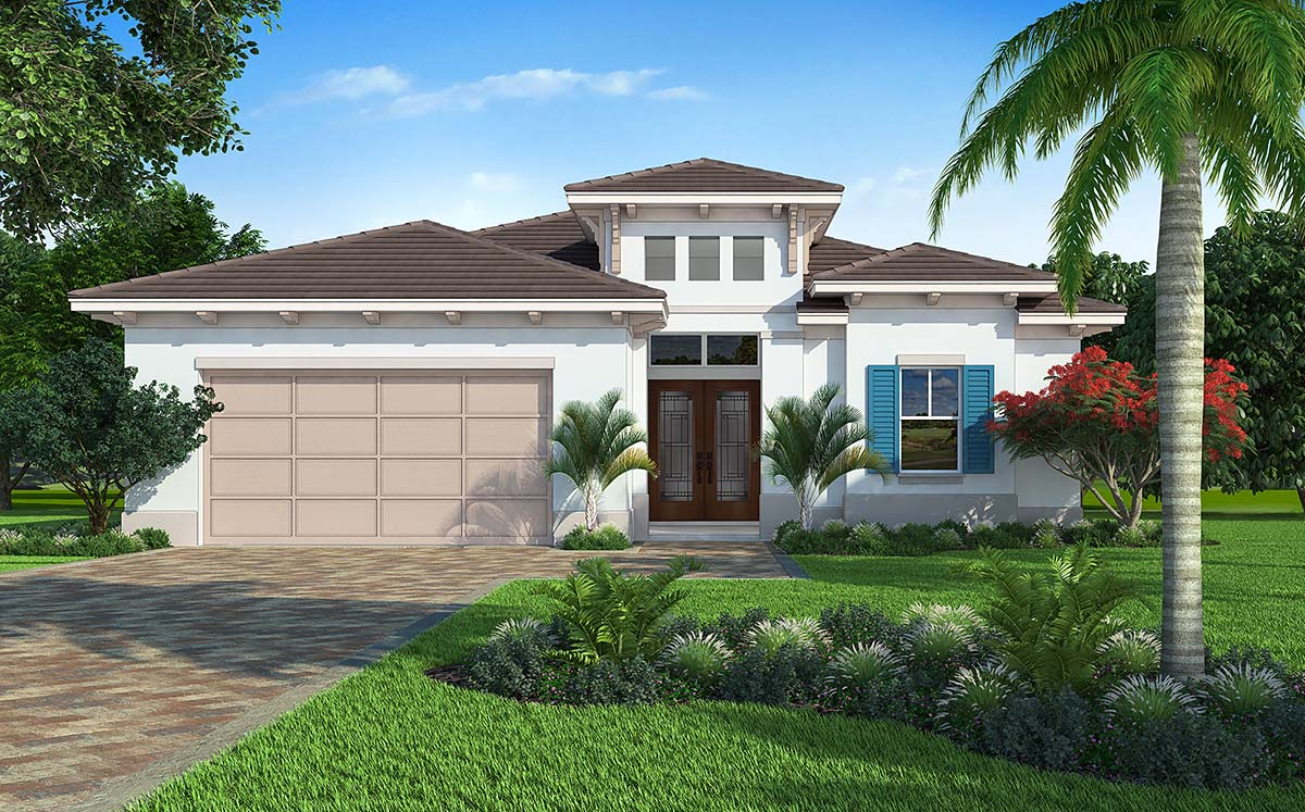 Coastal, Contemporary House Plan 52955 with 3 Beds, 2 Baths, 2 Car Garage Elevation