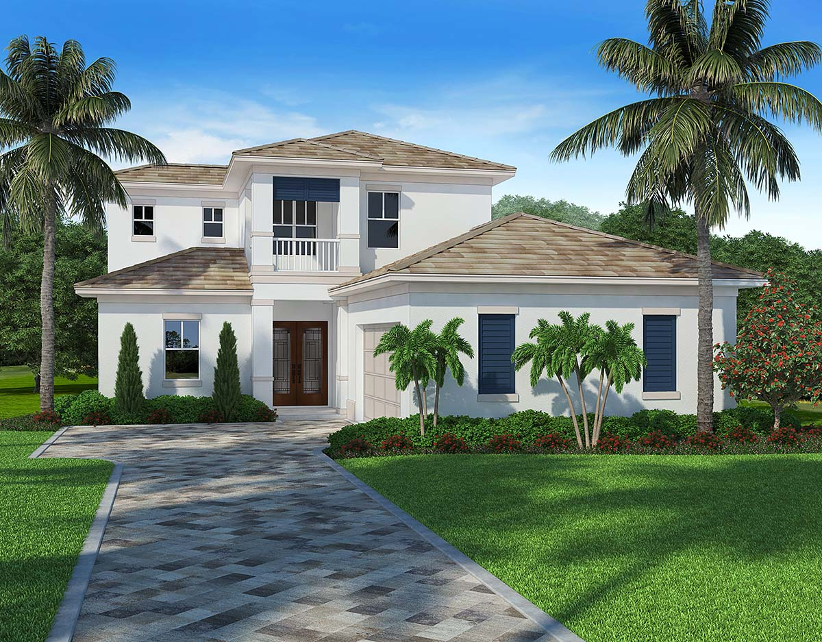 House Plan 52956 | Coastal Contemporary Style Plan with 2775 Sq Ft, 4 Bedrooms, 3 Bathrooms, 2 Car Garage Elevation