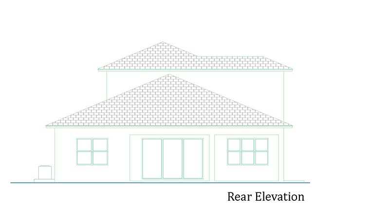 House Plan 52956 | Coastal Contemporary Style Plan with 2775 Sq Ft, 4 Bedrooms, 3 Bathrooms, 2 Car Garage Rear Elevation