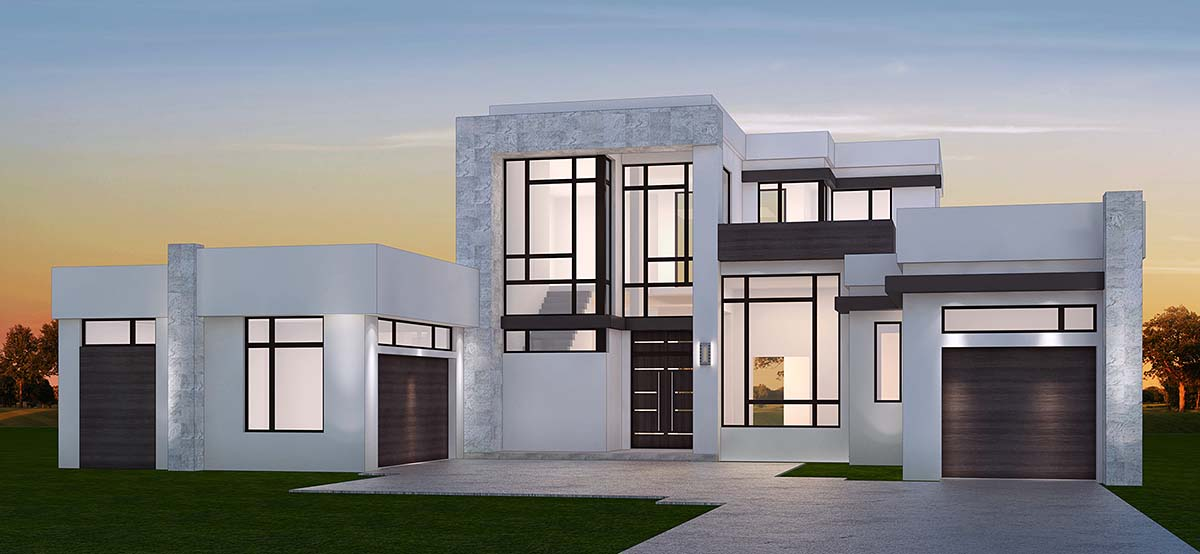 Contemporary, Modern House Plan 52957 with 4 Beds, 5 Baths, 3 Car Garage Front Elevation