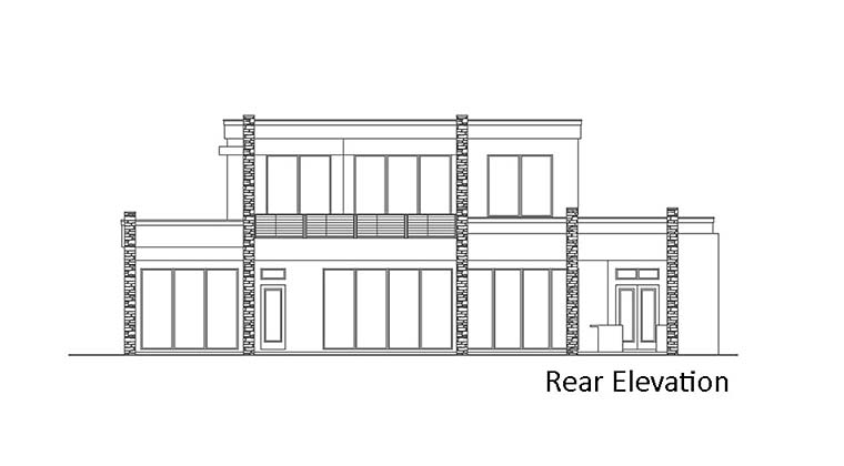 Contemporary Modern Rear Elevation of Plan 52957