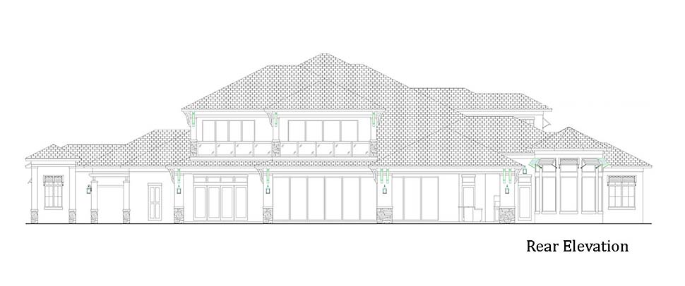 House Plan 52958 | Coastal Contemporary Style Plan with 9224 Sq Ft, 5 Bedrooms, 9 Bathrooms, 4 Car Garage Rear Elevation