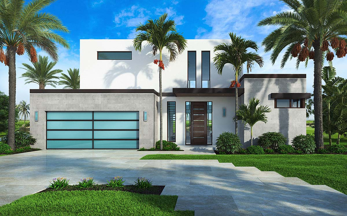 House Plan 52960 - Contemporary Style with 3764 Sq Ft, 4 ...