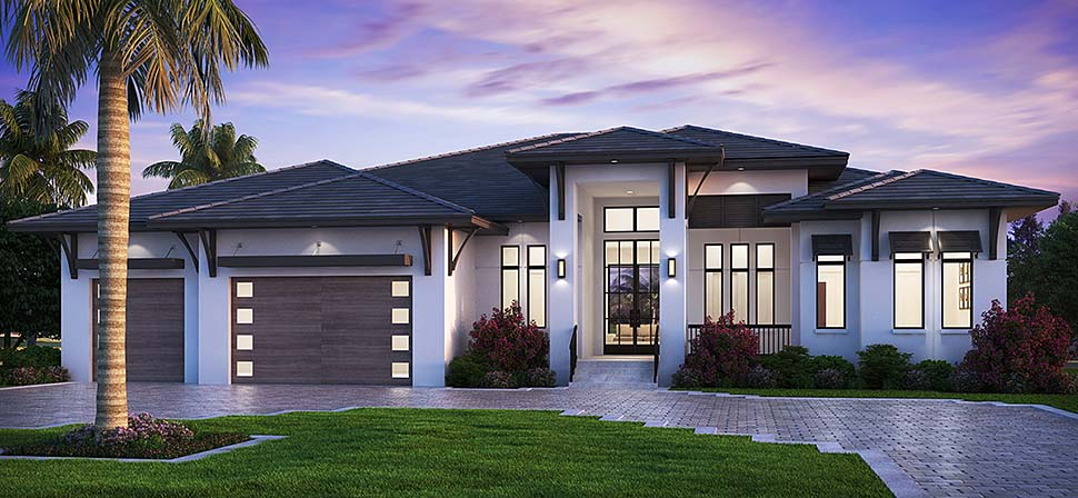 Coastal, Contemporary, Florida, Modern House Plan 52961 with 5 Beds , 6 Baths , 3 Car Garage Elevation