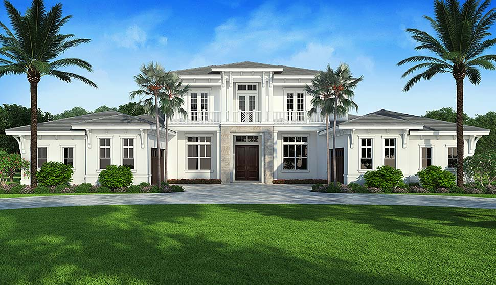 Coastal , Contemporary House Plan 52962 with 4 Beds, 6 Baths, 4 Car Garage Elevation