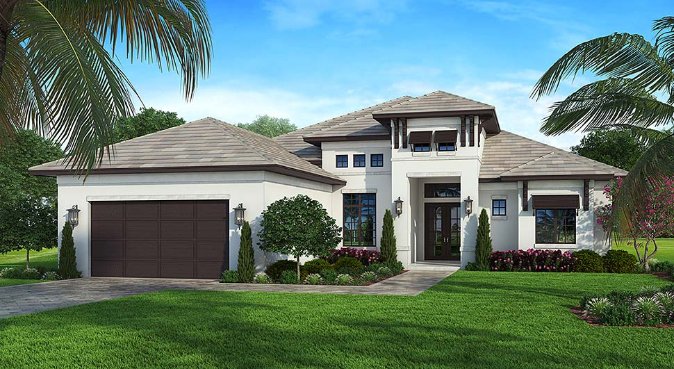 Coastal, Contemporary House Plan 52963 with 4 Beds, 3 Baths, 2 Car Garage Elevation