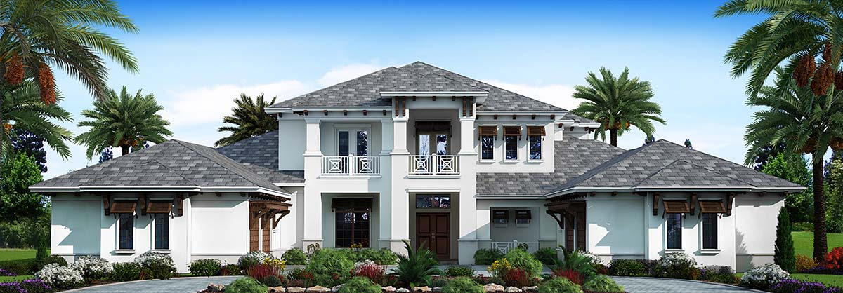 Coastal, Contemporary, Florida, Mediterranean, Modern, Southwest House Plan 52964 with 5 Beds, 7 Baths, 4 Car Garage Front Elevation