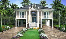 Coastal , Florida , Southern House Plan 52965 with 2 Beds, 2 Baths, 2 Car Garage Elevation