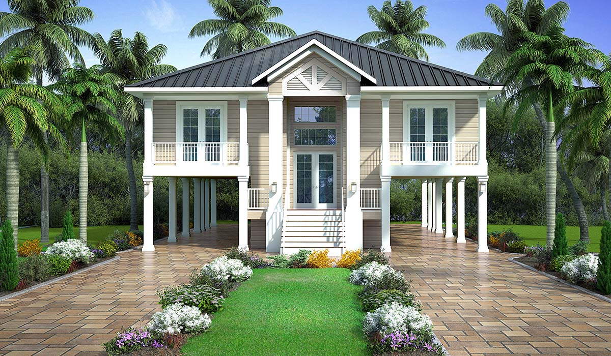 Coastal, Florida, Southern House Plan 52965 with 2 Beds, 2 Baths, 2 Car Garage Elevation
