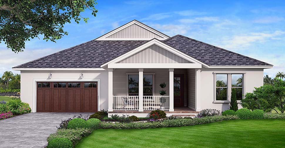 Traditional House Plan 52967 with 3 Beds, 3 Baths, 2 Car Garage Elevation
