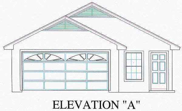House Plan 53113 with 3 Beds , 2 Baths , 2 Car Garage Elevation