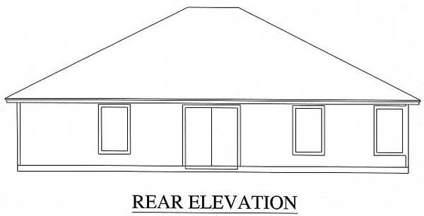 House Plan 53228 with 3 Beds, 2 Baths, 2 Car Garage Rear Elevation