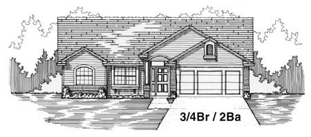 House Plan 53245 with 4 Beds, 2 Baths, 2 Car Garage Elevation