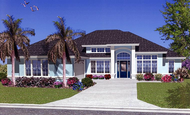 House Plan 53423 with 5 Beds, 2 Baths, 2 Car Garage Elevation